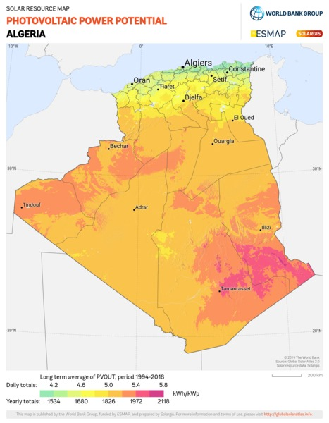Photovoltaic Electricity Potential, Algeria