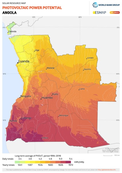 Photovoltaic Electricity Potential, Angola