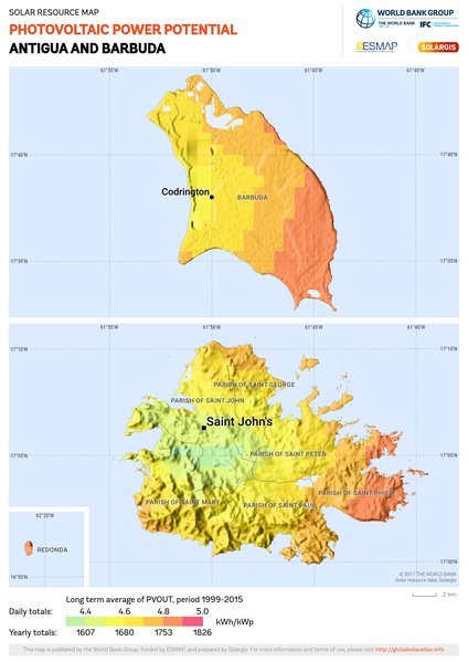 Photovoltaic Electricity Potential, Antigua and Barbuda