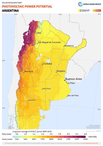 Photovoltaic Electricity Potential, Argentina