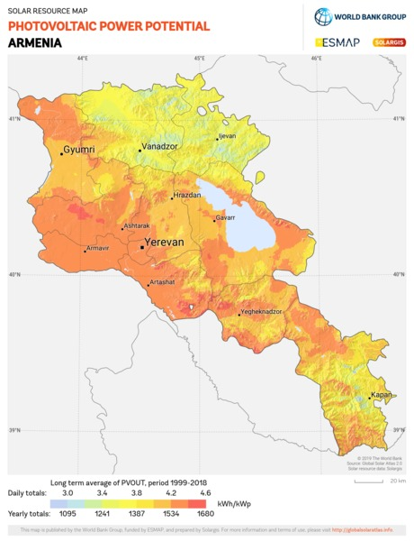 Photovoltaic Electricity Potential, Armenia