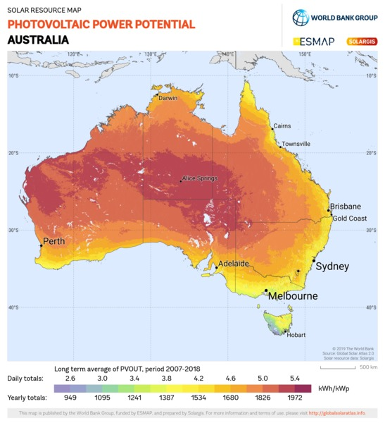 Photovoltaic Electricity Potential, Australia