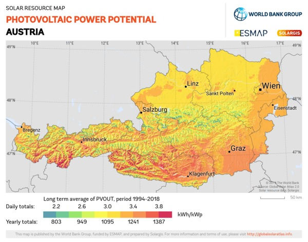 Photovoltaic Electricity Potential, Austria