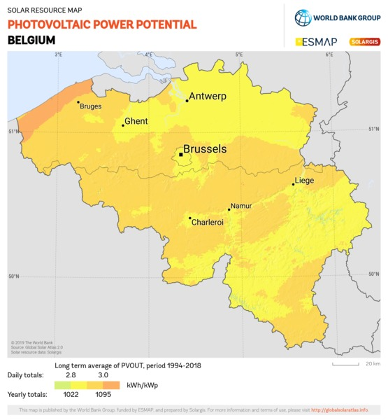 Photovoltaic Electricity Potential, Belgium