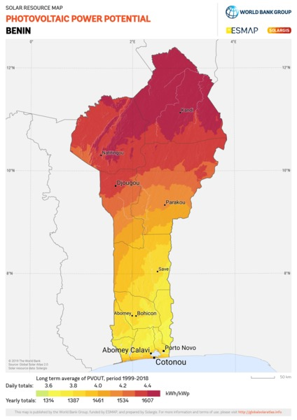 Photovoltaic Electricity Potential, Benin