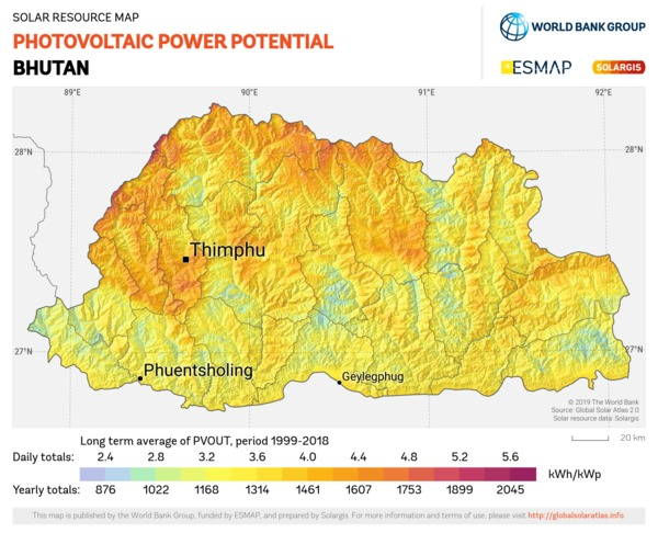 Photovoltaic Electricity Potential, Bhutan