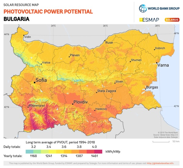 Photovoltaic Electricity Potential, Bulgaria