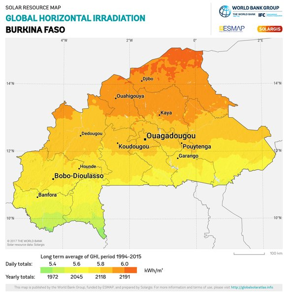 Global Horizontal Irradiation, Burkina Faso