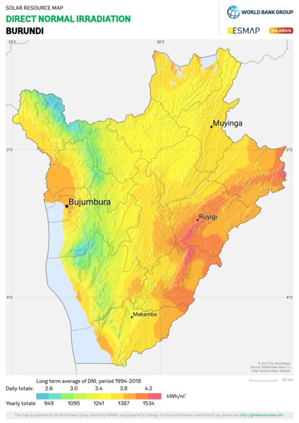 Direct Normal Irradiation, Burundi
