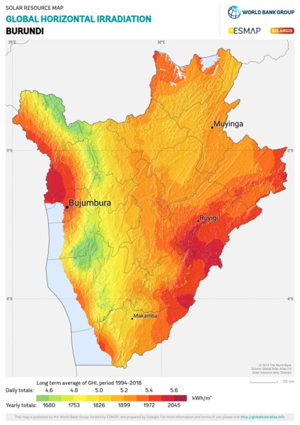 Global Horizontal Irradiation, Burundi