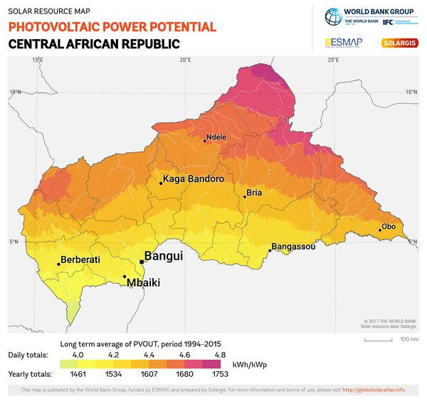 Photovoltaic Electricity Potential, Central African Republic