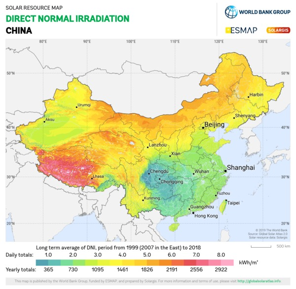 Direct Normal Irradiation, China