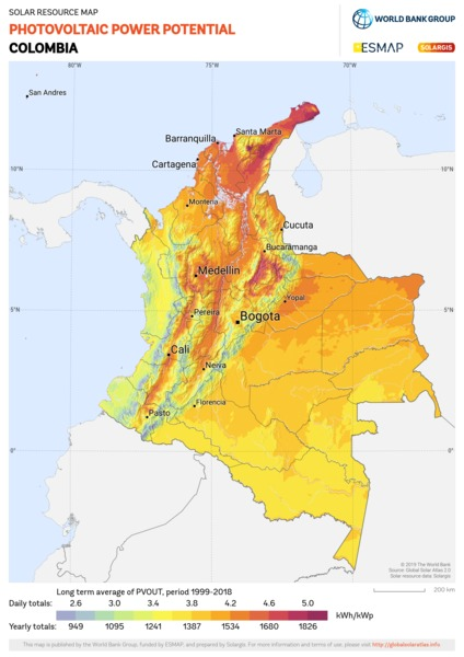 Photovoltaic Electricity Potential, Colombia