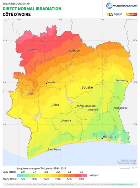 Direct Normal Irradiation, Cote d Ivoire