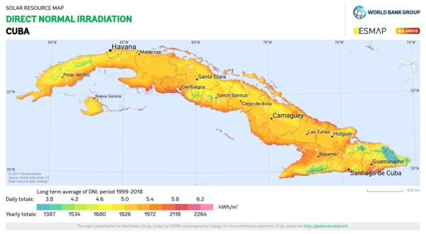 Direct Normal Irradiation, Cuba