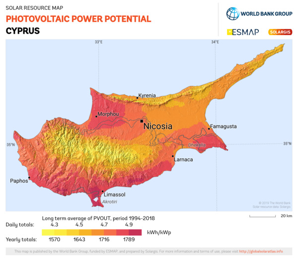 Photovoltaic Electricity Potential, Cyprus