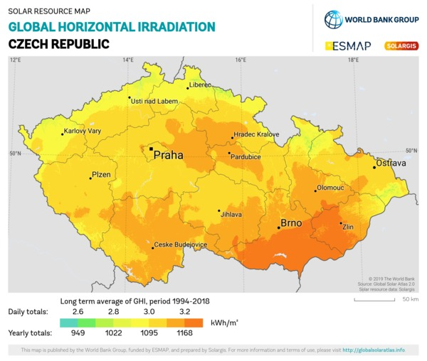 Global Horizontal Irradiation, Czech Republic