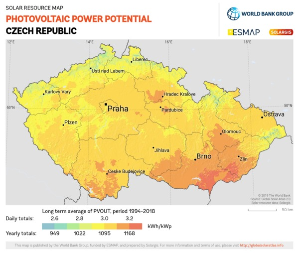 Photovoltaic Electricity Potential, Czech Republic