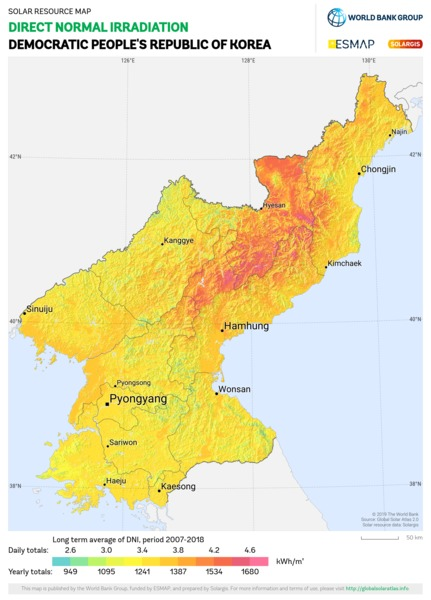 Direct Normal Irradiation, Democratic Peoples Republic of Korea