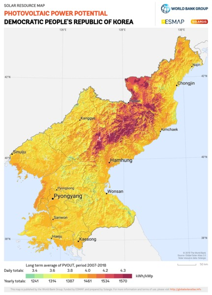 Photovoltaic Electricity Potential, Democratic Peoples Republic of Korea