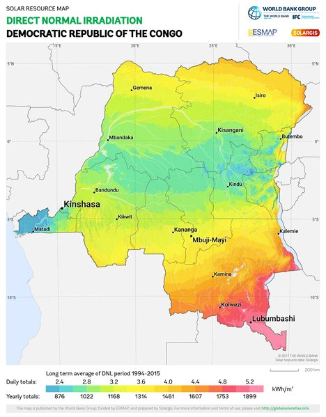 Direct Normal Irradiation, Democratic Republic of the Congo