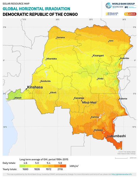 Global Horizontal Irradiation, Democratic Republic of the Congo