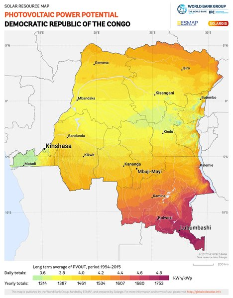 Photovoltaic Electricity Potential, Democratic Republic of the Congo