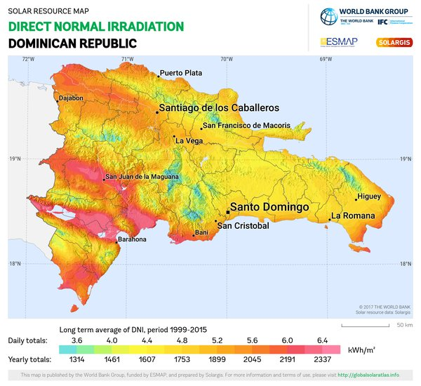 Direct Normal Irradiation, Dominican Republic