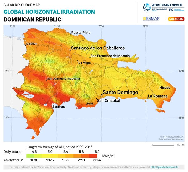 Global Horizontal Irradiation, Dominican Republic