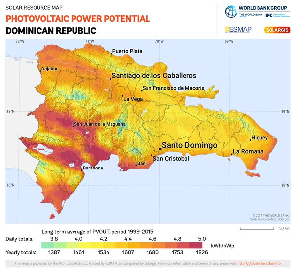 Photovoltaic Electricity Potential, Dominican Republic