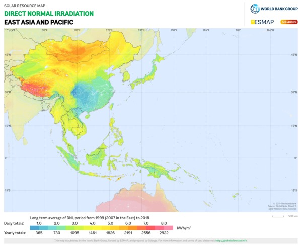 Direct Normal Irradiation, East Asia and Pacific