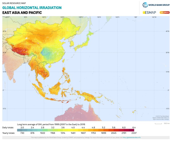 Global Horizontal Irradiation, East Asia and Pacific