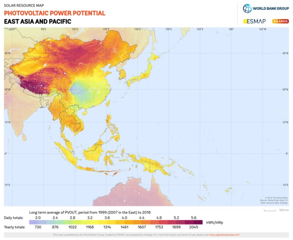 Photovoltaic Electricity Potential, East Asia and Pacific