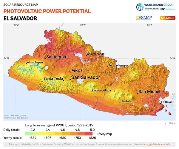 Photovoltaic Electricity Potential, El Salvador