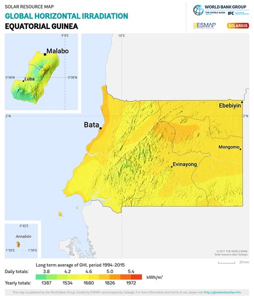 Global Horizontal Irradiation, Equatorial Guinea