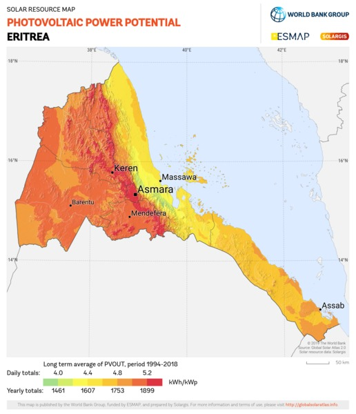 Photovoltaic Electricity Potential, Eritrea