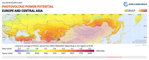 Photovoltaic Electricity Potential, Europe and Central Asia