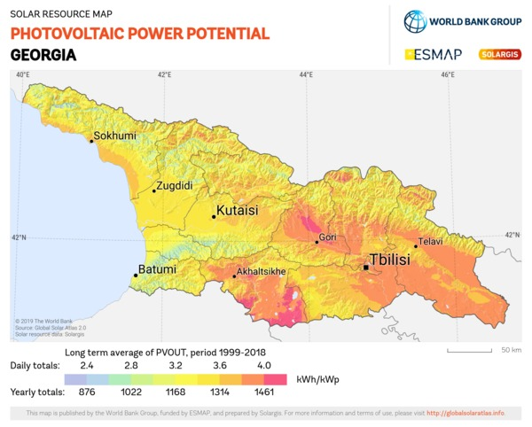 Photovoltaic Electricity Potential, Georgia
