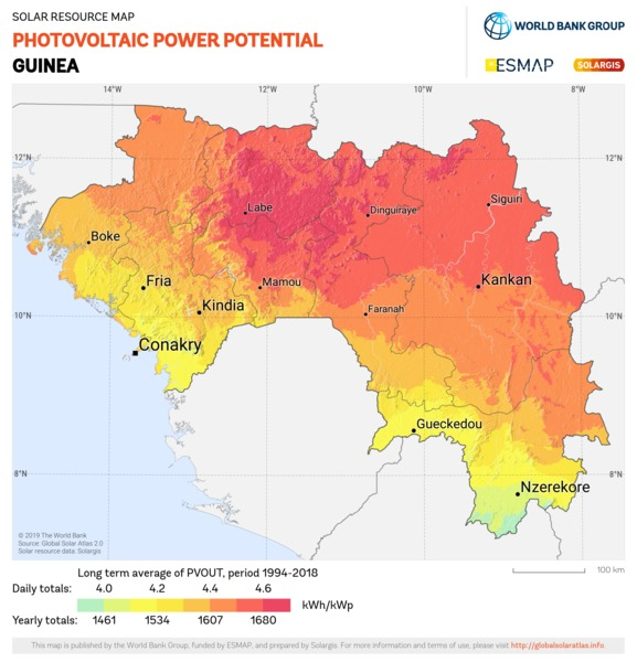 Photovoltaic Electricity Potential, Guinea
