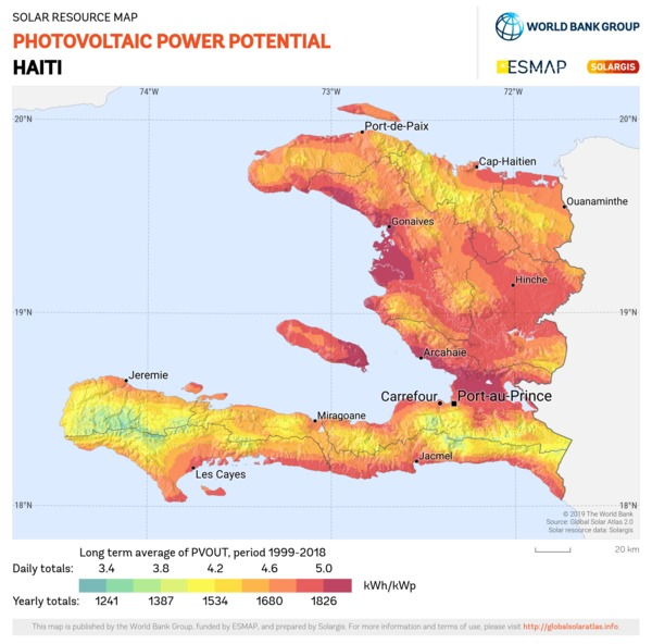 Photovoltaic Electricity Potential, Haiti