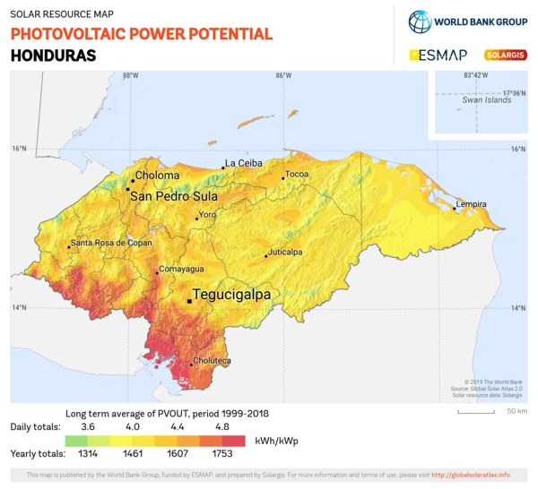 Photovoltaic Electricity Potential, Honduras