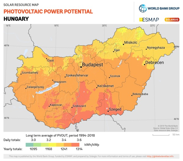 Photovoltaic Electricity Potential, Hungary