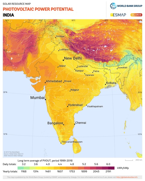 Photovoltaic Electricity Potential, India
