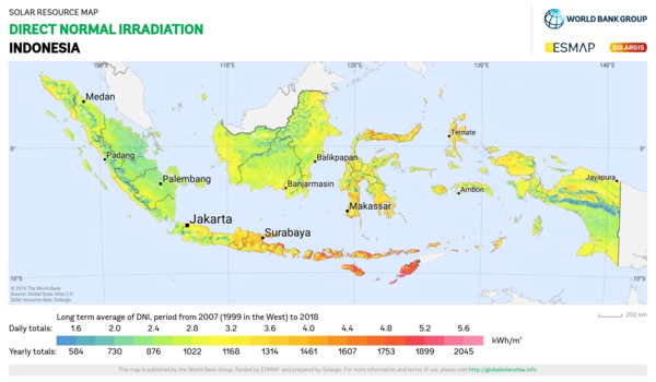 Direct Normal Irradiation, Indonesia