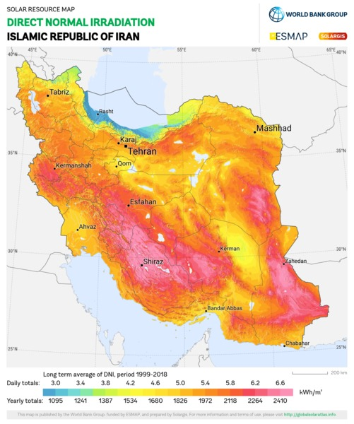 Direct Normal Irradiation, Iran