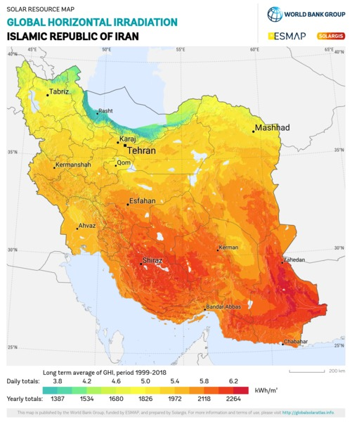 Global Horizontal Irradiation, Iran
