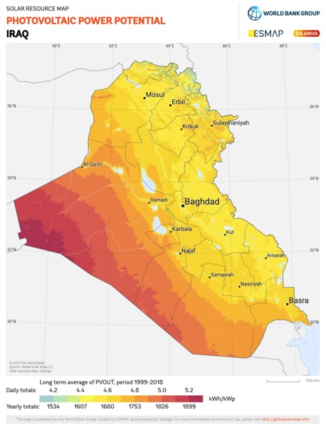 Photovoltaic Electricity Potential, Iraq