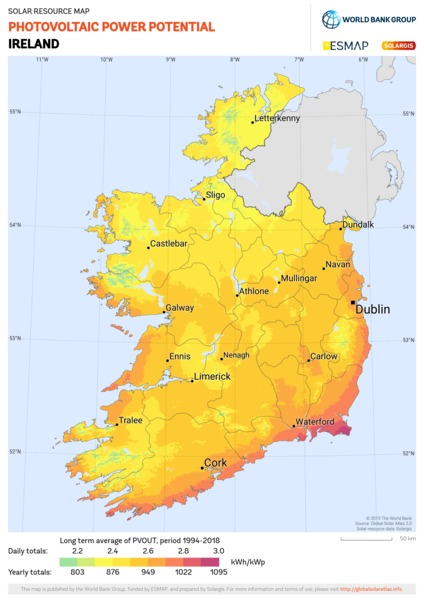 Photovoltaic Electricity Potential, Ireland