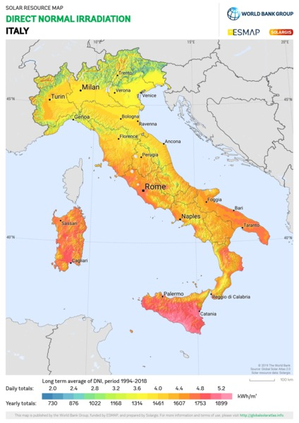 Direct Normal Irradiation, Italy