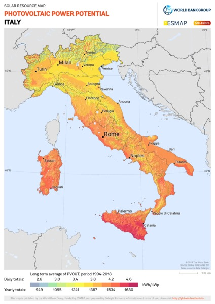Photovoltaic Electricity Potential, Italy